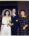 Wedding photo of mom, dad, and great-grandmother Saito